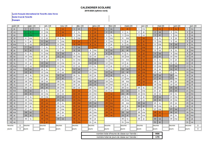 Calendario Laboral 2020 Canarias.Calendario Escolar Liceo Frances De Tenerife