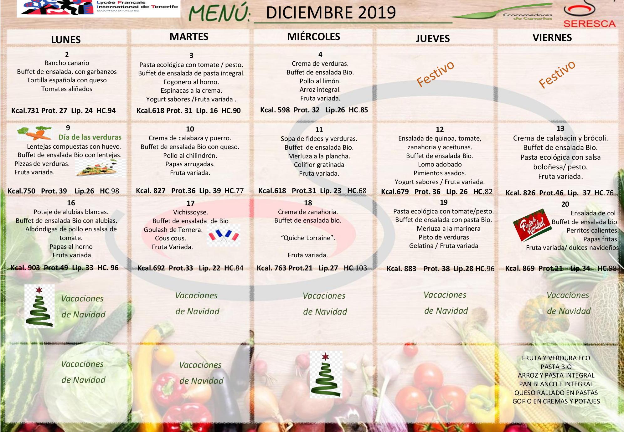 Menú del comedor - Liceo Francés Internacional de Tenerife