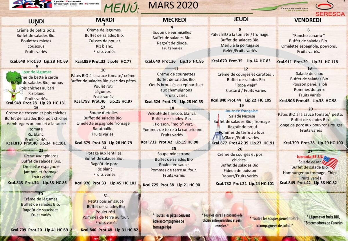 menu mars français