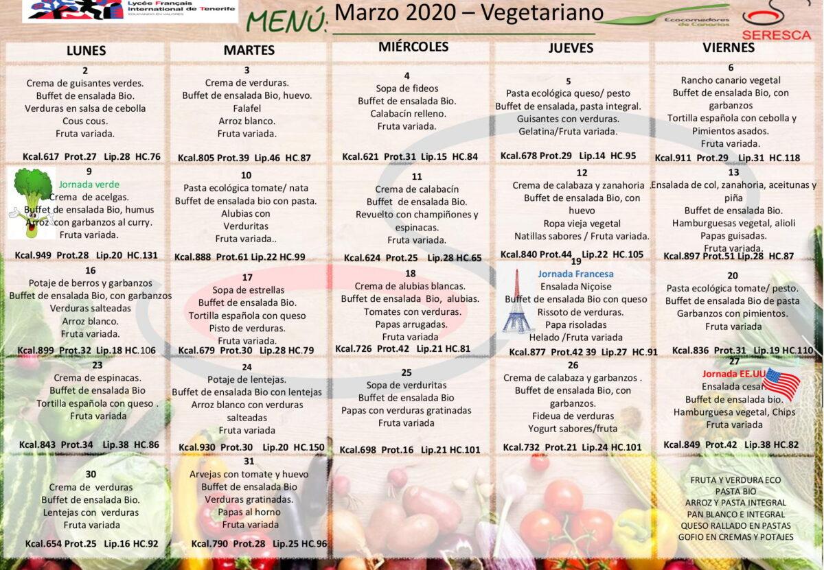 menu vegetariano marzo