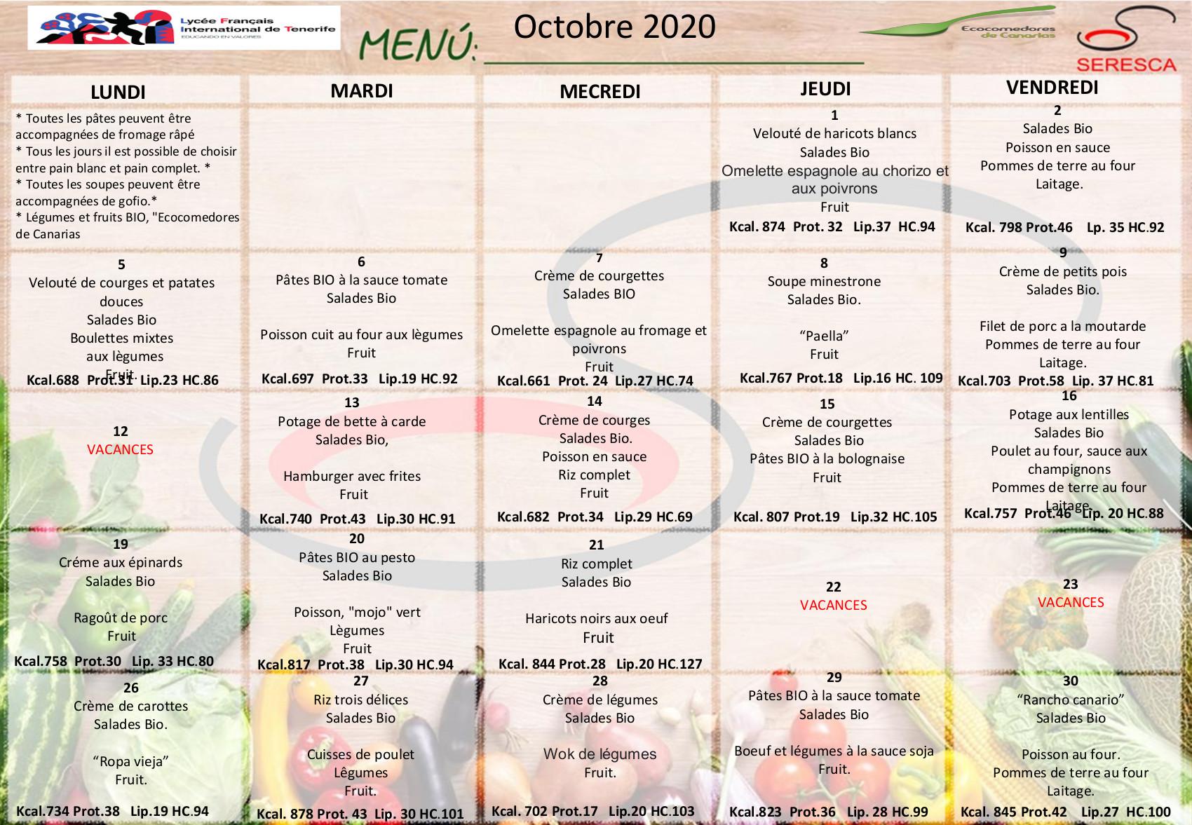 Menu octobre