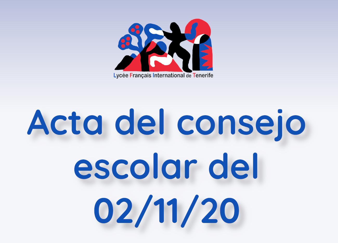 Acta del consejo escolar de 02/11/20