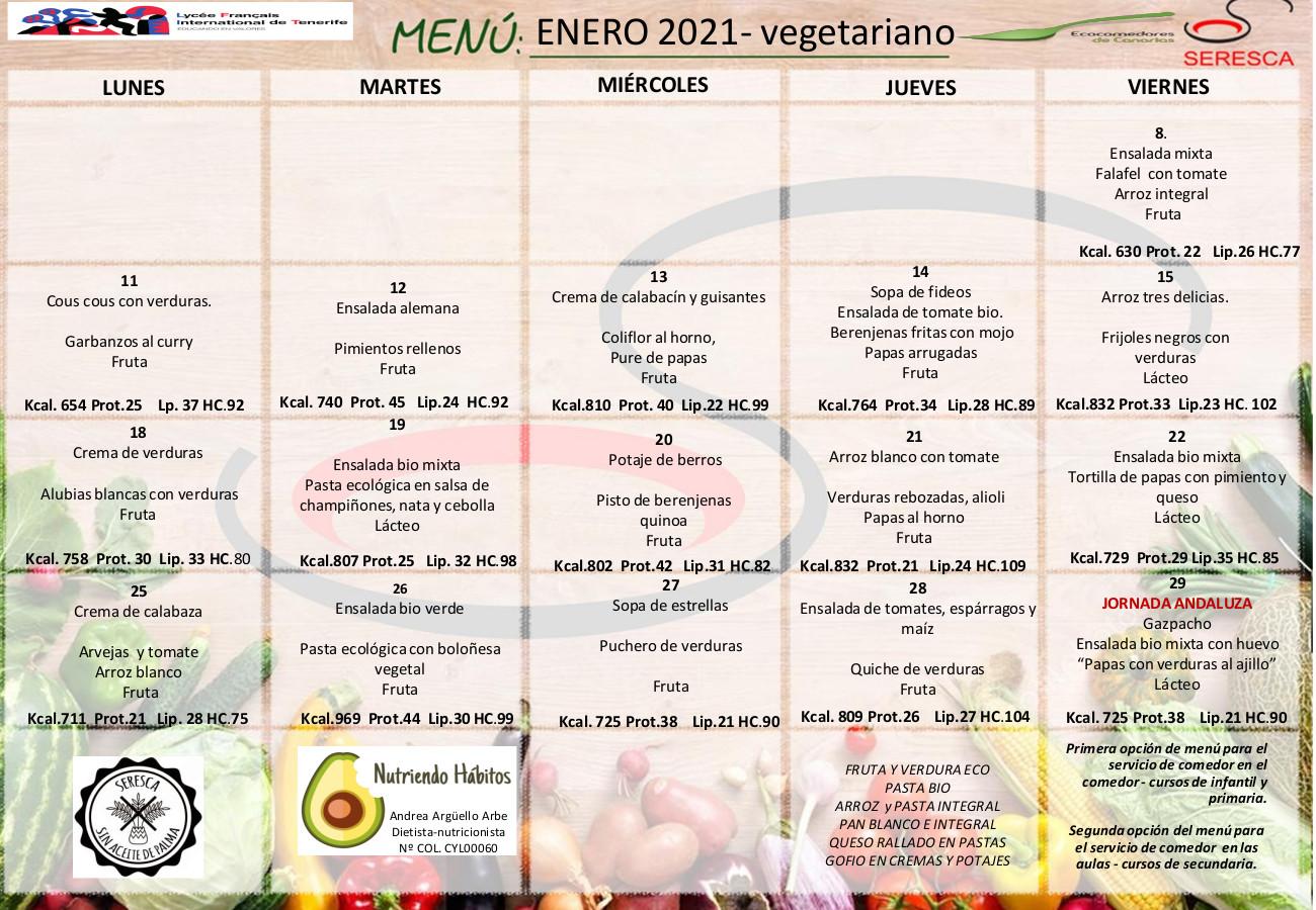 Menu vegetariano enero 2021