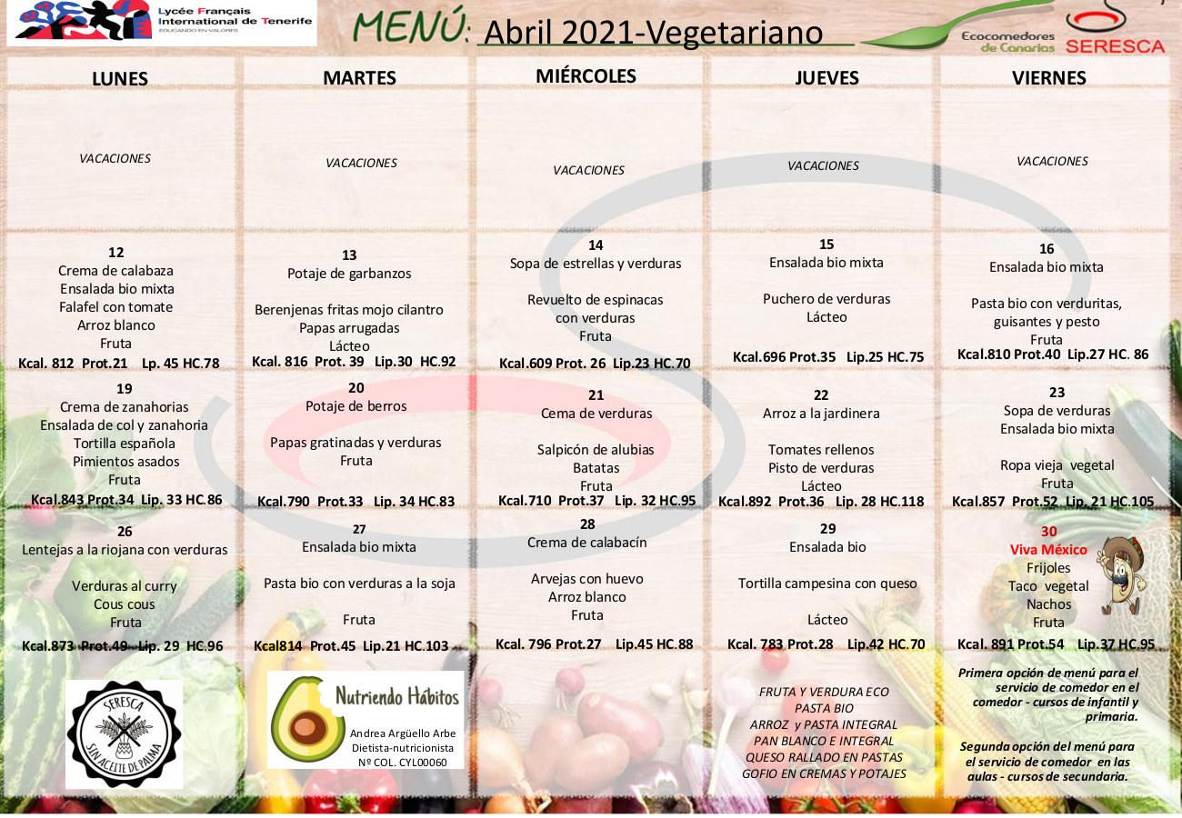 Menu vegetariano abril 2021