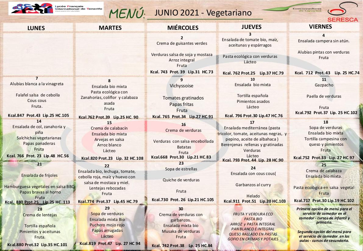 Menu vegetariano junio 2021